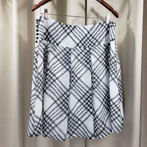 ROMY COLLECTION B/W Plaid Print Pleated Skirt